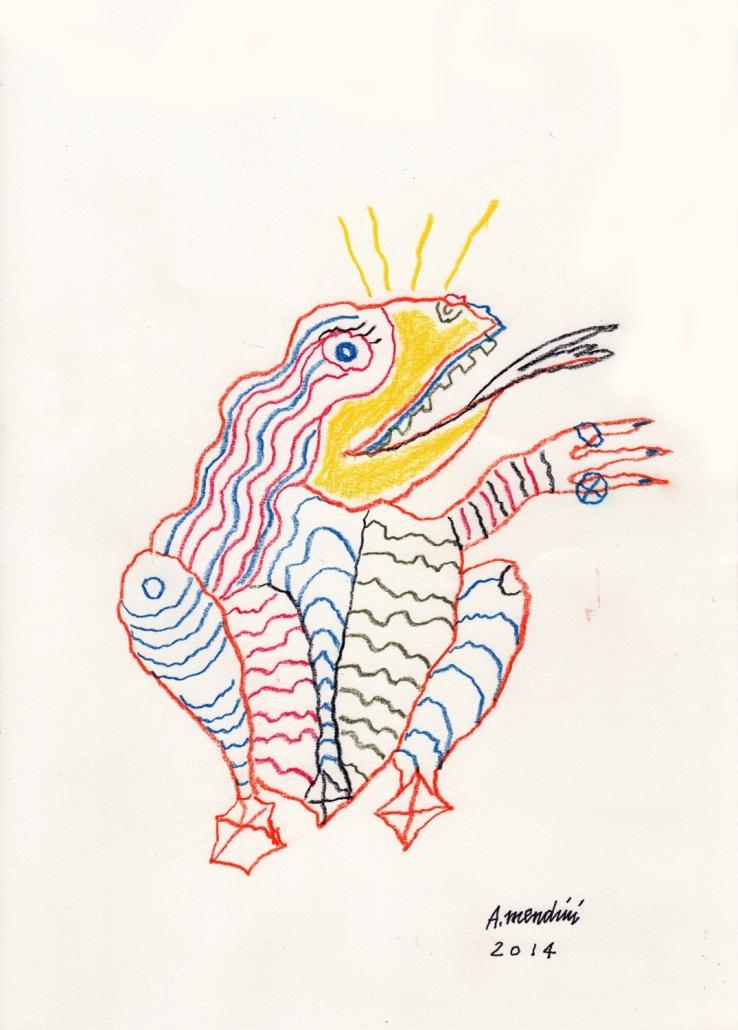 Alessandro Mendini, Disegno per Riccardo Dalisi e il Museo dei bambini, 2014, pennarelli e matite colorate, cm 21x 30