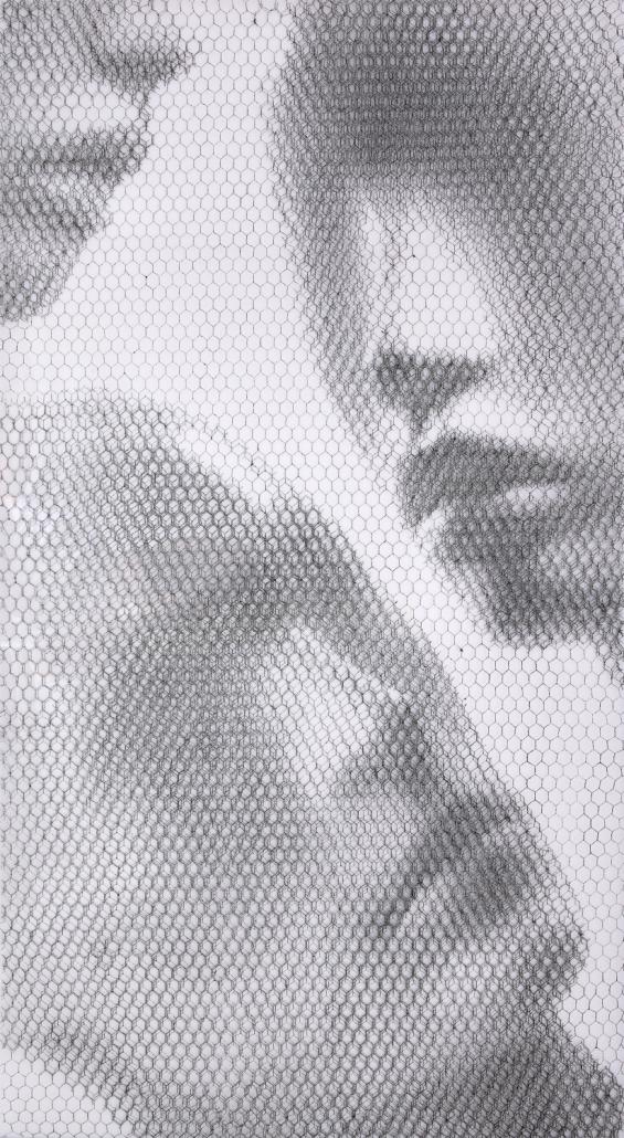 Giorgio-Tentolini_Floating-Heads2_rete-metallica-intagliata-a-mano-e-sovrapposta-a-fondale-bianco_cm-155x85-_2019