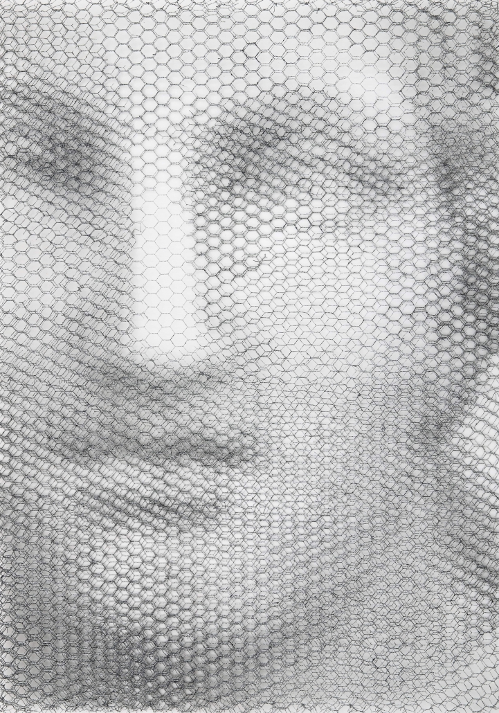 Giorgio-Tentolini_Venere-tipo-Dresda_rete-metallica-intagliata-a-mano-e-sovrapposta-a-fondale-bianco_cm-100-x-70_2020