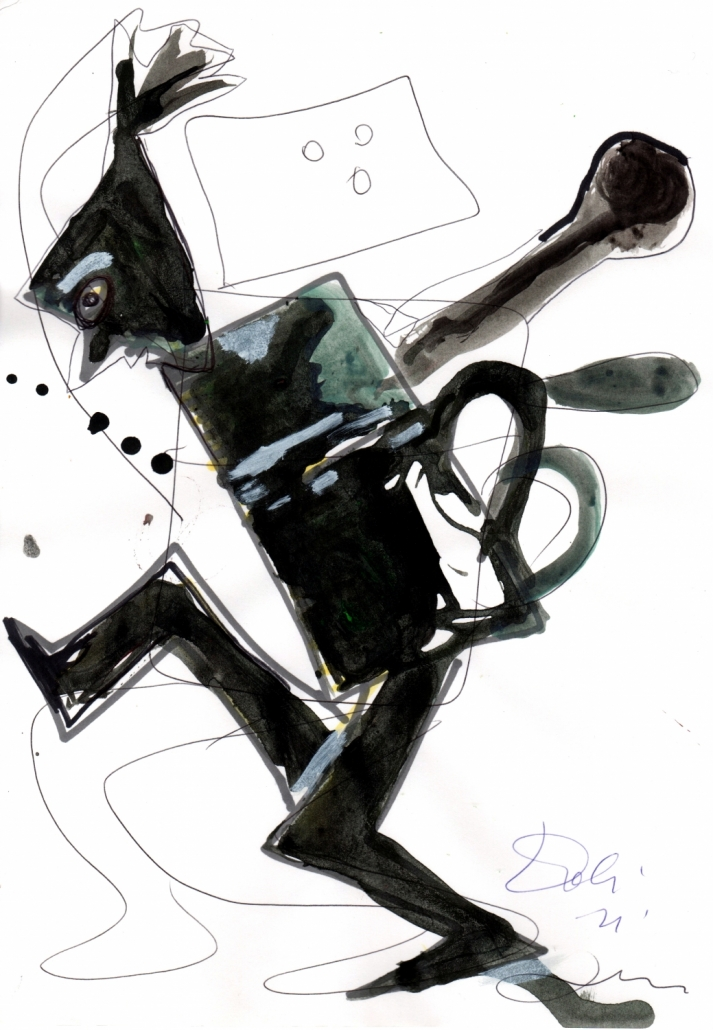 Caffettiera danzante, acrilici, penna e pennarello su carta, 1999, cm 29,5 x 21