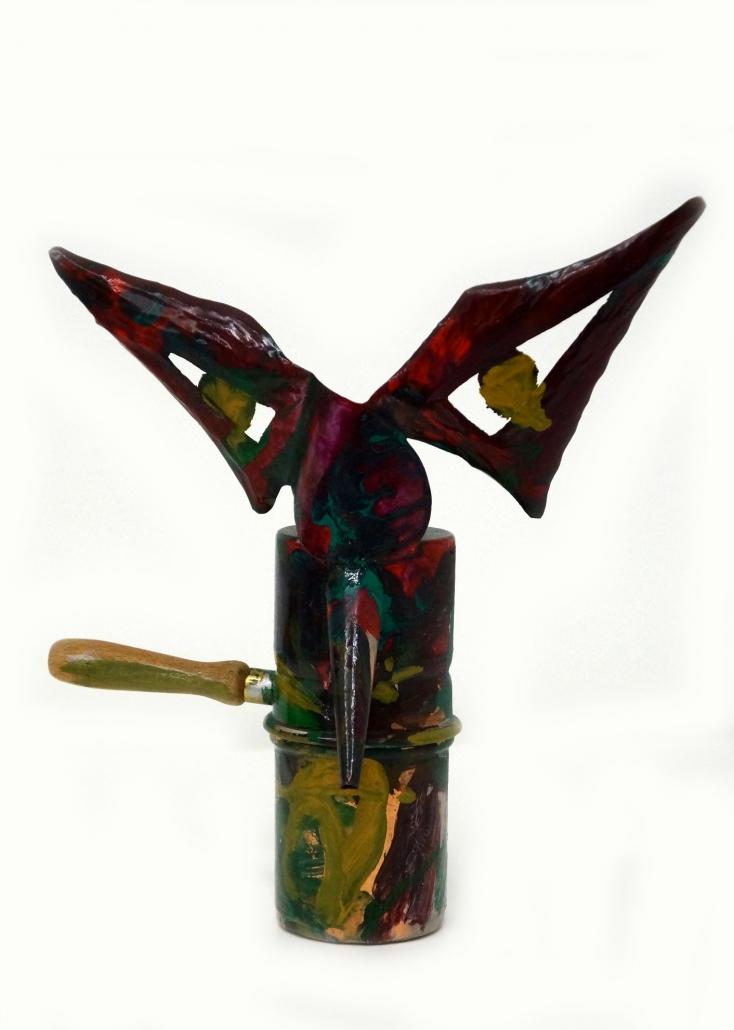 Caffettiera mascherata, rame - ottone - legno - acrilici, 2013, H 25 cm