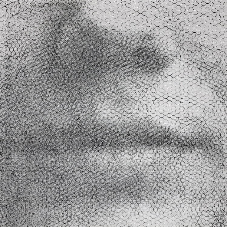 Giorgio-Tentolini_Francescas-breath-lapse_rete-metallica-intagliata-a-mano-e-sovrapposta-a-fondale-bianco_cm-100x100_2019