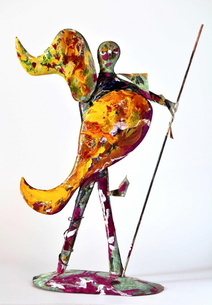 Guerriero, rame e acrilici, h 45 cm, 2013
