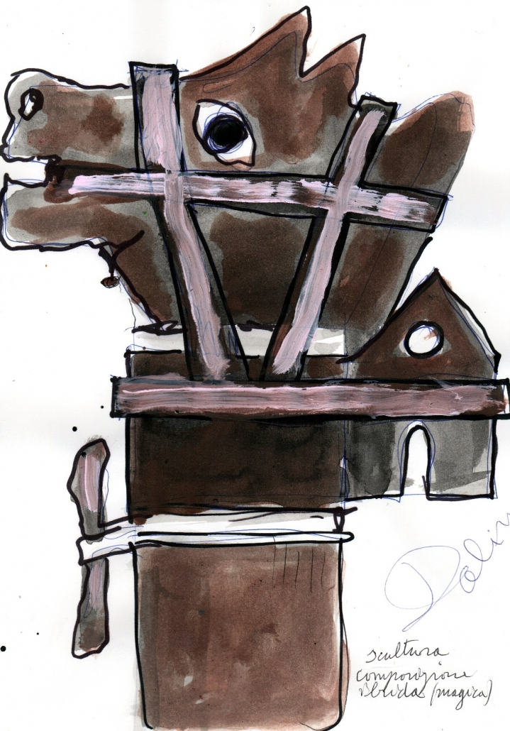 Ibridismo magico, penna, pennarello e acrilici su carta, 2001, cm 29,5 x 21