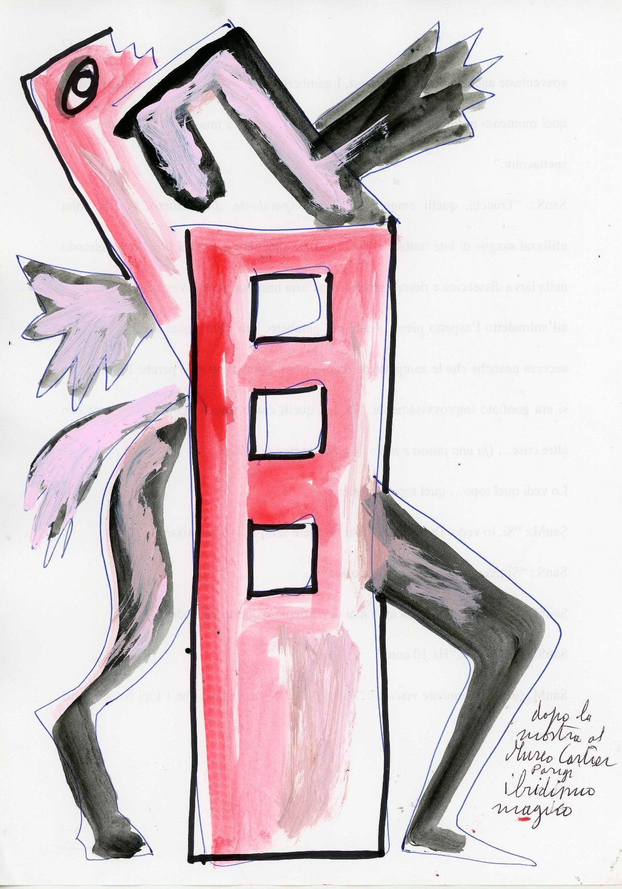Ibridismo magico, tecnica mista su carta, 2001, cm 29,5x21