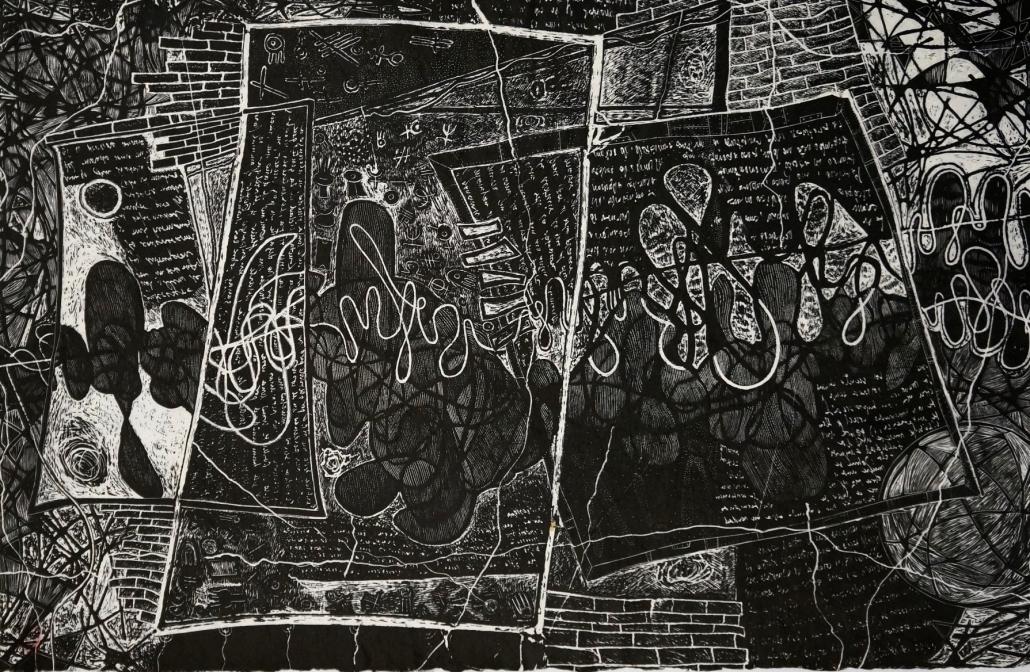 Lo que se siente P-A_Xilografia_Carta artigianale giapponese, corda, pigmenti_cm85x111_sd