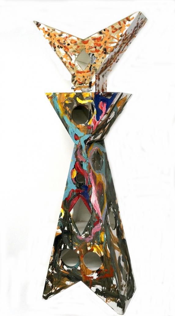 Mobile-scultura, forex e acrilici, 2013, cm 160 x 62 x 32