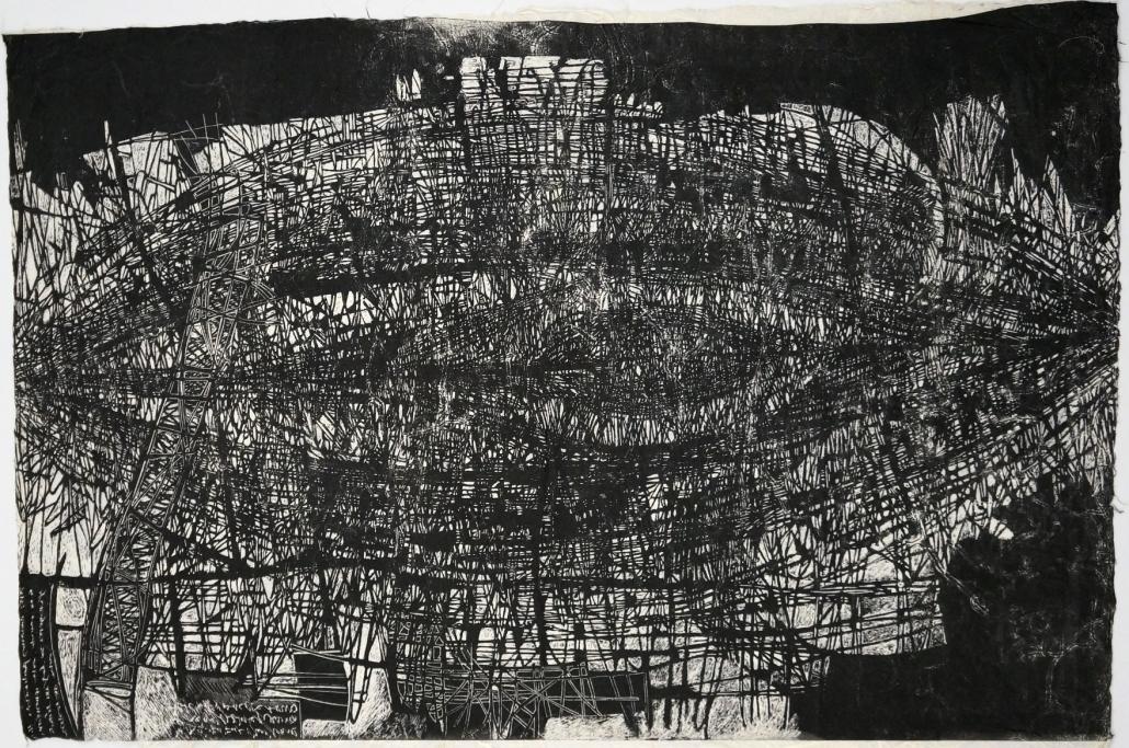 Mundos paralelos P-A_Xilografia_Carta fatta a mano, semi, pigmenti_cm94x63,5_sd