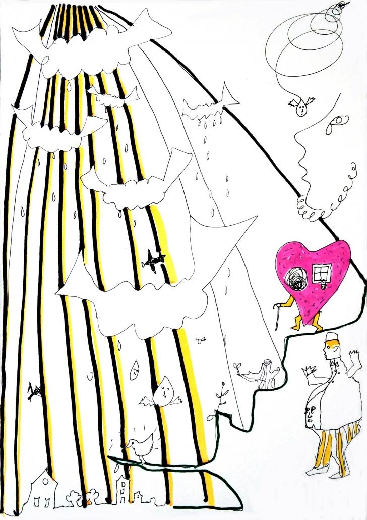 Senza titolo, penna e pennarello su carta, 1999, cm 29,5 x 21
