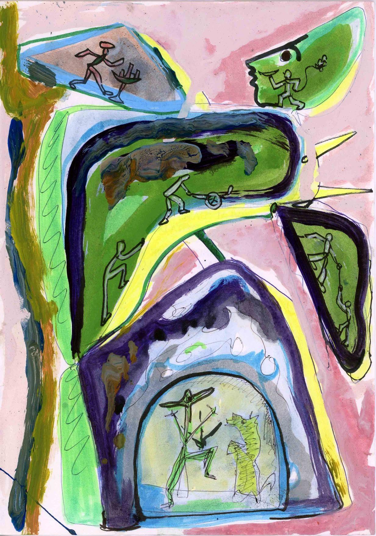 Senza titolo, tecnica mista su carta, 2001, 29,5 x 21cm