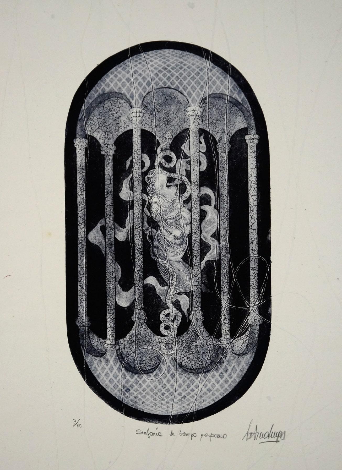 Sinfonia de tiempo y espacio_3-10_Mezzatinta_Carta fatta a mano, corda di seta, pigmenti naturali_cm65x46_sd