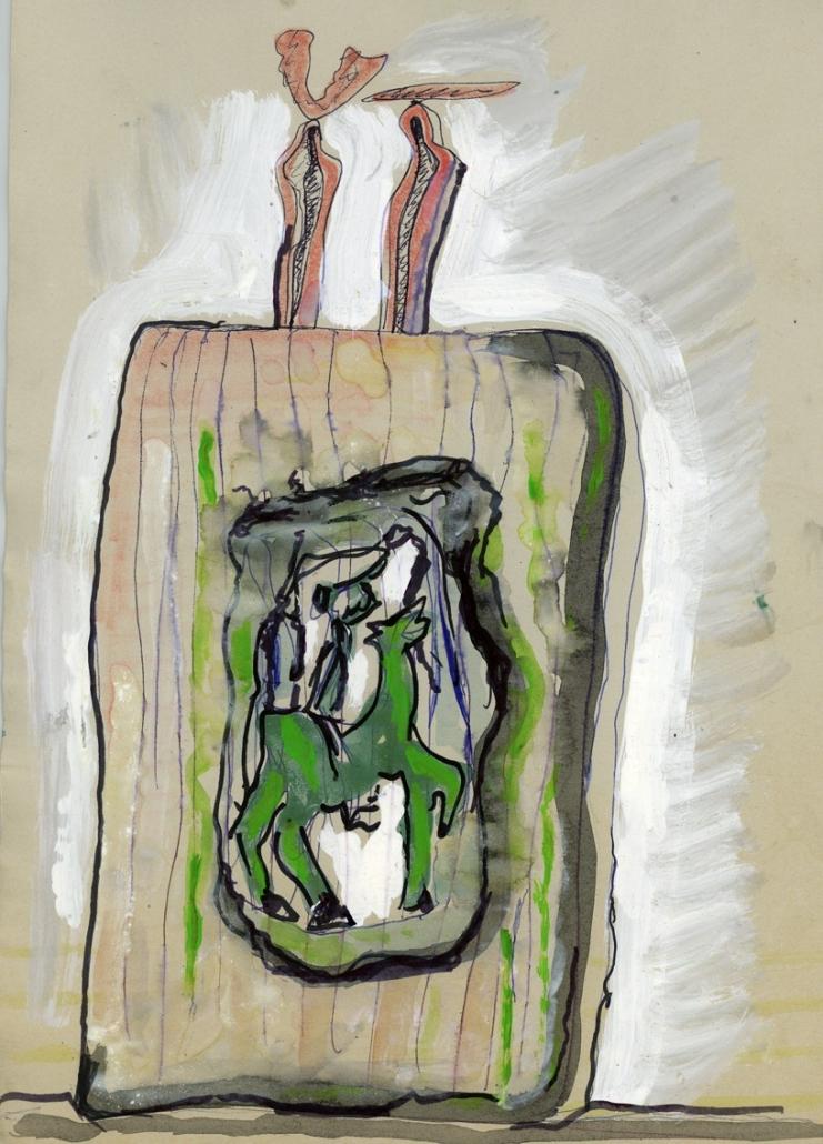Studio per scultura, tecnica mista su carta, 2003, cm 29,5 x 21