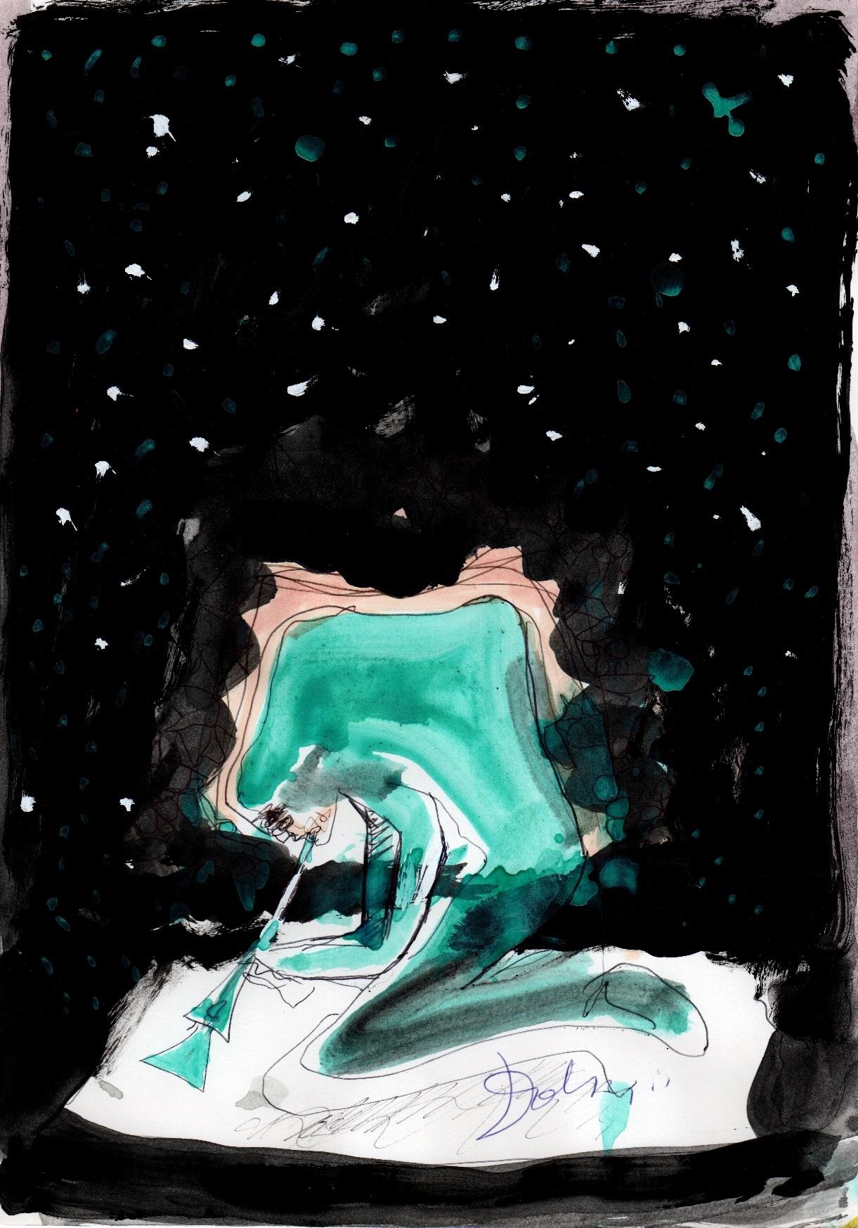 Suona la notte, acrilici, penna e pennarello su carta, 2002, cm 29,5 x 21