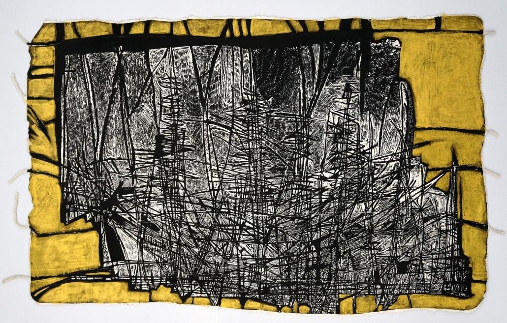 Tempestad 3-3_Xilografia_Carta fatta a mano, inchiostro, oro_cm63x97_sd