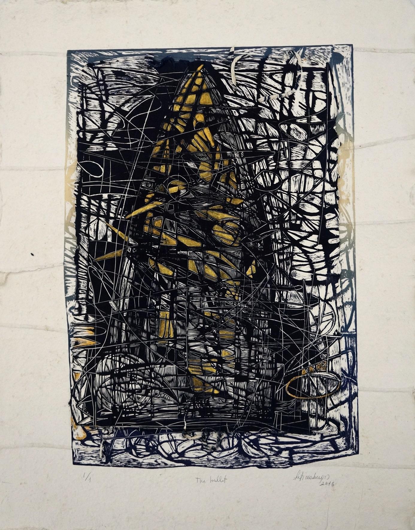 The Bullet 1-1_Xilografia_Carta fatta a mano, pigmenti naturali, doppia stampa_cm95,5x74_sd