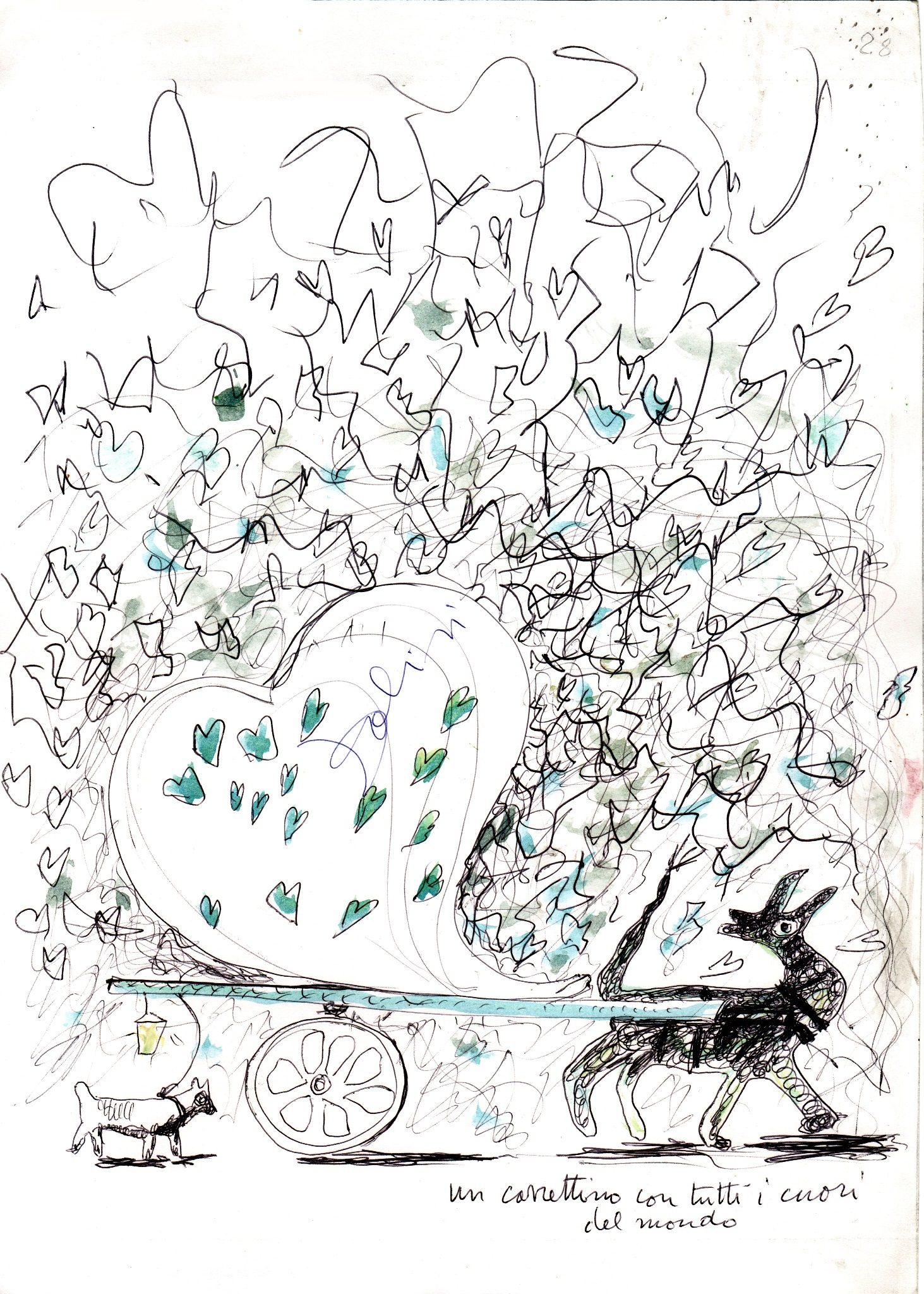 Un carrettino con tutti i cuori del mondo, penna e pennarello su carta, 2008, cm 29,5 x 21