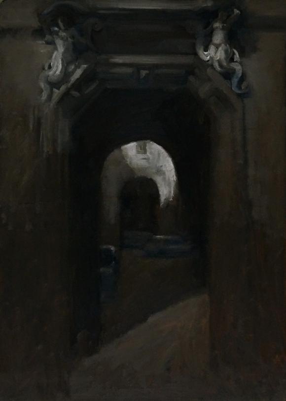 Androne e ombra_olio su tavola_cm60x43_2021