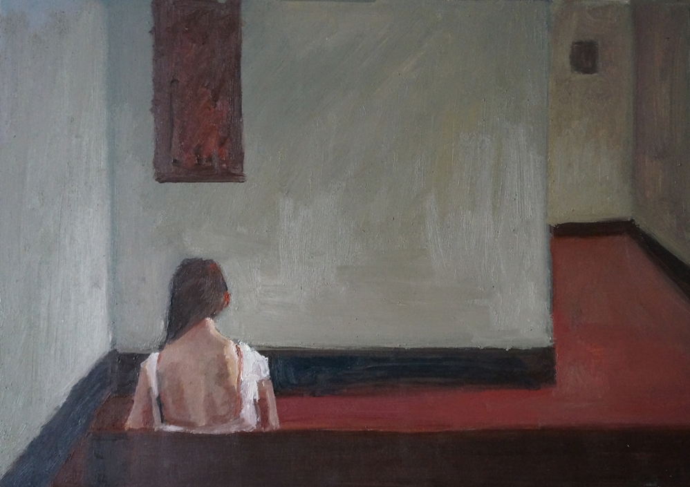 Interno museo_olio su tavola_cm35x50_2018