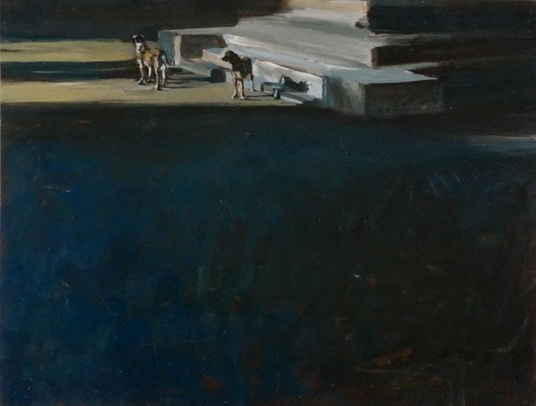 Ombra e cani_olio su tavola_cm41,5x54_2020
