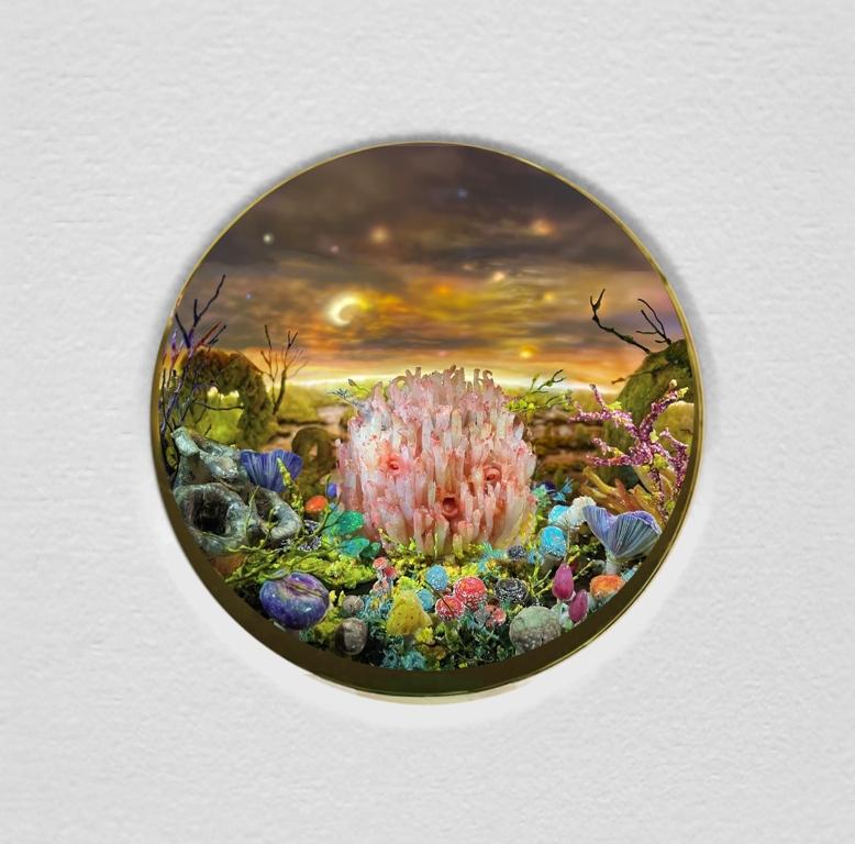 Coral Mushroom Head, Diorama_ 11 14 (h) x 14 34 (w) x 9 14 (d) in. (29 x 38 x 23 cm)_Stirene, argilla, cera, schiuma, legno, acrilico, olio, acciaio, illuminazione, vetro BK7_2021
